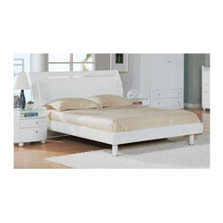 Global Furniture - Contemporary White Emily Sleigh Bed (King) - Choose Size: KingNightstand not included. Contemporary design. Durable construction. Constructed with MDF. Queen Headboard: 43 in. L x 10 in. W x 69 in. H (119 lbs.). Queen Front/Side Panels: 75 in. L x 7 in. W x 8 in. H (48 lbs.). Queen Bedframe & Slat: 74 in. L x 2 in. W x 62 in. H (40 lbs.). King Headboard: 43 in. L x 10 in. W x 88 in. H (146 lbs.). King Front/Side Panels: 83 in. L x 7 in. W x 8 in. H (63 lbs.). King Bedframe & Slat: 86 in. L x 4 in. W x 39 in. H (51 lbs.)