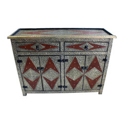 Badia Design Inc. - Rectangular Shaped Metal and Leather Cabinet from Morocco - Handcrafted and hand designed by our skilled artisans in Morocco.
