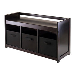 """Winsome Wood - Winsome Wood Addison 4 Piece Storage Bench w/ 3 Foldable Fabric Baskets in Black - 4 Piece Storage Bench w/ 3 Foldable Fabric Baskets in Black belongs to Addison Collection by Winsome Wood Addison Bench looks great in any room with rich dark espresso finish. Bench comes with 3-section with 3 foldable black baskets for storage. Bench overall sizes is 37.40""""W x 13.39""""D x 20.87""""H. Fabric baskets is 10.97""""W x 10.06""""D x 9""""H when open. Bench is made with combination of solid and composite wood. Assembly Required Bench (1), Basket (3)"""