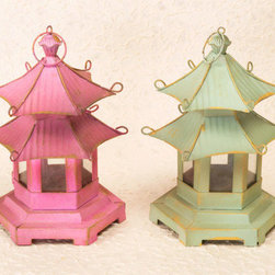 Pagoda Lanterns - China Sprout - These pagoda lanterns would make lovely centerpieces for the Chinoiserie tabletop, indoors or out.