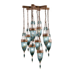 Scheherazade Blue Glass Pendant, 611040-3ST, by Fine Art Lamps