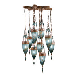 """Fine Art Lamps - Scheherazade Blue Glass Pendant, 611040-3ST - Like something out of """"Arabian Nights,"""" this spectacular fixture features meticulously crafted metalwork and handblown glass. The unique color combinations add to the mystical allure. Hang it wherever you feel most magical!"""