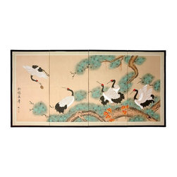 Oriental Unlimted - 36 in. High Hand Painted Homeward Bound Wall - Screens may vary slightly in color. Includes lacquered Brass geometric hangers for easy mounting. Can be displayed as a privacy screen. No 2 renderings are exactly the same. Subtle and beautiful hand painted wall art. Handpainted ink and watercolor silk screen. Red headed cranes nestled among the long needled pine. Crafted from silk covered paper and glued over 4 side-by-side lacquered wood frames. Matted with a fine Chinese silk brocade border. 72 in. W x 0.63 in. D x 36 in. H