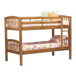 Linon - Twin Bunk Bed with Built-In Ladder - Bring a sweet space saving solution to your childs room with the Twin Bunk Bed with Built-In Ladder by Linon. Ideal for kids in small spaces, this bed measures 59 high by 79.5 wide by 42 deep, while adding sleeping space for two. The Twin Bunk Bed with Built-In Ladder measures 12 high from the floor to the bottom of the first bunk, leaving plenty of space for under bed storage bins. Theres an additional 36 between the bottom bunk and the top bunk  plenty of room for a growing child. The top bunk is accessible by an integrated ladder and is protected by a full-length guardrail. The durable build, made of strong pine and painted MDF, meets all ASTM and CPSC standards. As your family grows or you get more space, the beds come apart and can be used as two normal twin sized beds. When the beds are bunked, they support 100 lbs. each. When used as two separated beds, each twin size bed has a weight capacity between 100 and 175 lbs. The light pecan color is a medium wood tone in a mission style that can look good in a boys or girls room. Mattresses are not included. Assembly is required. Features: -Can be set up as a bunk bed or two matching Twin beds.-Fixed and sturdy ladder.-Meets all ASTM and CPSC standards.-Mission style.-Strong pine and painted MDF construction and high-quality components.-Collection: Mission.-Distressed: No.-Powder Coated Finish: No.-Gloss Finish: No.-Frame Material: Pine and MDF.-Solid Wood Construction: No.-Hardware Material: Metal.-Non Toxic: No.-Stain Resistant: No.-Scratch Resistant: No.-Joinery Type: Flush.-Configuration: Twin over Twin.-Mattress Included: No.-Boxspring Required Top Bed: No.-Converts to Two Beds: Yes.-Slat System Included: Yes -Number of Slats Included: 14..-Center Support Legs: No.-Guardrail(s) Included: Yes.-Trundle Bed Included: No.-Ladder Included: Yes -Ladder Location: Right side..-Built In Stairs: No.-Built In Desk Included: No.-Casters: No.-Wood Molding: No.-Tent Included: No.-