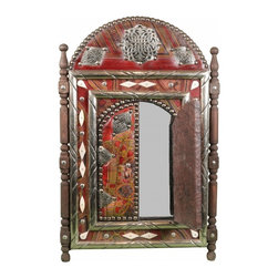 Handmade Moroccan Mirror. - One of a kind hand crafted Moroccan mirror consisting of carved camel bone and Cedar wood, Berber Tattoo design on genuine Moroccan  leather and brass and Berber silver engravings.