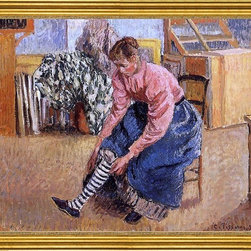 """Camille Pissarro-16""""x20"""" Framed Canvas - 16"""" x 20"""" Camille Pissarro Woman Putting on Her Stockings framed premium canvas print reproduced to meet museum quality standards. Our museum quality canvas prints are produced using high-precision print technology for a more accurate reproduction printed on high quality canvas with fade-resistant, archival inks. Our progressive business model allows us to offer works of art to you at the best wholesale pricing, significantly less than art gallery prices, affordable to all. This artwork is hand stretched onto wooden stretcher bars, then mounted into our 3"""" wide gold finish frame with black panel by one of our expert framers. Our framed canvas print comes with hardware, ready to hang on your wall.  We present a comprehensive collection of exceptional canvas art reproductions by Camille Pissarro."""