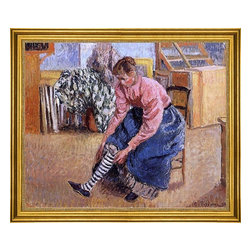"Camille Pissarro-16""x20"" Framed Canvas - 16"" x 20"" Camille Pissarro Woman Putting on Her Stockings framed premium canvas print reproduced to meet museum quality standards. Our museum quality canvas prints are produced using high-precision print technology for a more accurate reproduction printed on high quality canvas with fade-resistant, archival inks. Our progressive business model allows us to offer works of art to you at the best wholesale pricing, significantly less than art gallery prices, affordable to all. This artwork is hand stretched onto wooden stretcher bars, then mounted into our 3"" wide gold finish frame with black panel by one of our expert framers. Our framed canvas print comes with hardware, ready to hang on your wall.  We present a comprehensive collection of exceptional canvas art reproductions by Camille Pissarro."