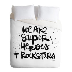 DENY Designs - Kal Barteski Superheroes Duvet Cover - Turn your basic, boring down comforter into the super stylish focal point of your bedroom. Our Luxe Duvet is made from a heavy-weight luxurious woven polyester with a 50% cotton/50% polyester cream bottom. It also includes a hidden zipper with interior corner ties to secure your comforter. it's comfy, fade-resistant, and custom printed for each and every customer.