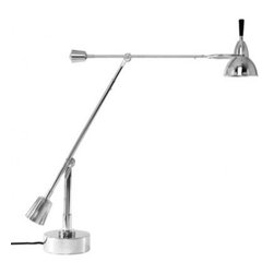 """Tecnolumen - Tecnolumen EB 27 Table lamp - The EB 27 Table lamp is designed by Eduard-Wilfrid Buquet and made by Tecnolumen. At 4.29 p.m. on February 9th, 1927, Eduard-Wilfried Buquet filed his patent for parts, particularly the flexible joints, of this lamp at the Minist�re du Commerce et l'Industrie in Paris. Various versions were produced until the 1940s by Buquet himself. Tecnolumen now re-edited the Bauhaus style desk lamp with some modifications due to technical reasons, like the interior of the flexible joints. Since the small reflector will only take a small holder Tecnolumen uses as low volt halogen lamp. Therefore the transformer is housed in the stand which is now made from metal rather than wood as it used to be.Metal structure with silver plating. Each fixture is consecutively numbered and bears logo. Low voltage transformer located in the base.         Product Details: The EB 27 Table lamp is designed by Eduard-Wilfrid Buquet and made by Tecnolumen. At 4.29 p.m. on February 9th, 1927, Eduard-Wilfried Buquet filed his patent for parts, particularly the flexible joints, of this lamp at the Minist�re du Commerce et l'Industrie in Paris. Various versions were produced until the 1940s by Buquet himself. Tecnolumen now re-edited the Bauhaus style desk lamp with some modifications due to technical reasons, like the interior of the flexible joints. Since the small reflector will only take a small holder Tecnolumen uses as low volt halogen lamp. Therefore the transformer is housed in the stand which is now made from metal rather than wood as it used to be.Metal structure with silver plating. Each fixture is consecutively numbered and bears logo. Low voltage transformer located in the base. Details:                         Manufacturer:            Tecnolumen                            Designer:            Eduard-Wilfrid Buquet                            Made in:            Germany                            Dimensions:            Base Diameter: 6.3""""  (16 cm) x M"""