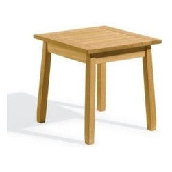 Oxford Garden Siena Shorea Side Table - Siena Side Table is a nice sidekick to all of our Shorea wood chairs.  Put it next to the Adirondack, the Somerset, the Armchairs, the Chaise Lounge, or the Rocking Chair.  With any other furniture the Siena will make a place for your stuff.  Rest a magazine, a beverage or flowers.  Shorea wood is strong and sleek.  Natural wood finish is appealing with many other styles.  Indeed, the Siena is the ultimate sidekick companion. With a