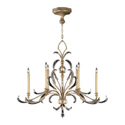 Fine Art Lamps - Beveled Arcs Chandelier, 739240ST - Bring elegant finery to your favorite formal room. Here, slender candles rise from lavish beveled crystals for a look that's distinctively delicate.