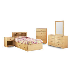 South Shore - Girl's Bedroom Set w Pine Finish & Floral Des - The perfect bedroom set for a young girl. It's feminine yet durable and has lots of storage and display areas. You get the twin bed with underneath storage plus headboard with bookcase, nightstand, dresser with mirror and a chest of drawers. * Manufactured from eco-friendly, EPP-compliant laminated particle boardcarrying the Forest Stewardship Council (FSC) certification. Assembly RequiredDouble Dresser: 30 in. H x 54 in. W x 17 in. D. Drawer chest: 47 in. H x 32 in. W x 17 in. DNight table: 25 in. H x 20 in. W x 17 in. DMates Bed: 14 in. H x 77 in. W x 41 in. D. Bookcase HB: 37 in. H x 43 in. W x 10 in. D. Mirror: 38 in. H x 30 in. W x 3 in. D