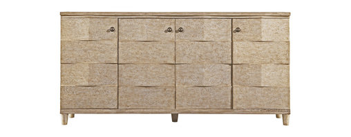 Stanley Furniture - Coastal Living Resort Ocean Breakers Console - Sandy Linen Finish - Wave-like ripples are the hallmark of our Ocean Breakers Console. A modern interpretation of the play of the ocean on the sand, our design dares you to resist its stunning style. Tuck away media equipment in the center pocket doors and store DVDs or other items in the two outside doors. Technology never had it so good. Four doors; pocket doors in center. Behind outside doors: one drawer; two adjustable shelves. Behind center doors: three adjustable shelves. Made to order in America.