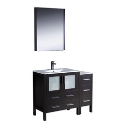 Fresca - Torino 42 in. Modern Bathroom Vanity w Undermount Sink (Bevera Chrome) - Choose Included Faucet: Bevera ChromeP-traps, Faucets, Pop-Up Drains and Installation Hardware Included. Single Hole Faucet Mount (Faucet Shown In Picture May No Longer Be Available So Please Check Compatible Faucet List). With overflow. Sink Color: White. Finish: Espresso. Sink Dimensions: 19 in. x12 in. x5 in. . Mirror: 25.5 in. W x 31.5 in. H x 1.25 in. D. Materials: Plywood w/ Veneer, Ceramic Sink w/ Overflow. Vanity: 42 in. W x 18.13 in. D x 33.75 in. HFresca is pleased to usher in a new age of customization with the introduction of its Torino line. The frosted glass panels of the doors balance out the sleek and modern lines of Torino, making it fit perfectly in either Town or Country decor. Available in the rich finishes of Espresso, Glossy White and Light Oak, all of the vanities in the Torino line come with either a ceramic vessel bowl or the option of a sleek modern ceramic undermount sink.