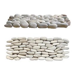 Indo Tile - Stacked Tan Pebble Tile, Carton - An inviting Tan Standing Pebble Tile hand crafted in Bali by cutting tan pebble tile pieces in half and standing them on the cut end on an