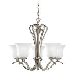 BUILDER - BUILDER Wedgeport Traditional Chandelier X-IN5802 - Five inverted bell shades in a crisp white-toned satin etched glass ensure clean illumination from this Kichler Lighting chandelier. From the Wedgeport Collection, the modern yet traditional design also features a fluid shape that is perfectly accentuated by the coordinating crisp tones of the Brushed Nickel finish.