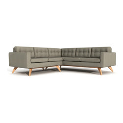 True Modern - TrueModern Luna Corner sectional- Calvin Mouse - The Luna Corner Sectional is a modern take on a classic Danish design. Mid-century style, modern sectionals are surely hard to find. TrueModern has designed this one based off of their best selling Luna sofa. Designed by Edgar Blazona for TrueModern, its beautifully simple shape is upholstered with a comfortable and durable 100% polyester fabric. Button tufting on the back cushions gives the sofa a retro feel. The solid wooden frame and legs give it a sturdy, confident stance. Lunas removable back and bottom cushions sit atop an upholstered well-tailored deck. The Luna sofa is available in five color choices: Charcoal, Chocolate, Dolphin (Medium Warm Grey), Mouse (Khaki) and Ivory. Made in USA.