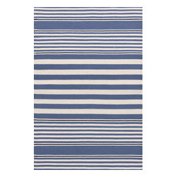 Dash & Albert - Beckham Stripe Denim Indoor/Outdoor Rug, 6 X 9 - A rug for all seasons. Made of superheroic polypropylene, our indoor/outdoor area rugs are terrific for high-traffic areas and muddy messes. Scrubbable, bleachable and UV-treated for outdoor use, this collection of woven rugs can stand up to all that you dish out.