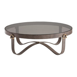 Arteriors - Stirrup Coffee table large, brown shagreen - Inspired by the stirrups flanking a horse's saddle, this chestnut shagreen leather coffee table with antique brass handles and smoke glass top resonates the equestrian elan of Hermes or Goyard.