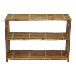 Bamboo54 - Bamboo Three Shelf Bookcase - Simple elegance and style define this bamboo bar stool. Bamboo fulfills the basic human need to return to nature. This shelf is mildew resistant and will last for years. This natural and unique bamboo system is versatile and multi-purpose. Bring Hawaii, Mexico, and the Bahamas right into your home. * Real natural bamboo. 3 shelves. Great as a bookcase or behind-the-sofa table. Shelves: 33 in. L x 13 in. D x 10.5 in. H. Overall Dimensions: 36 in. W x 15 in. D x 25 in. H