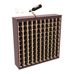 Two Tone 64 Bottle Deluxe Wine Rack in Pine with Burgundy/Natural Stain - Styled to appear as wine rack furniture, this wooden wine rack will match existing decor while storing 100 bottles of wine. Designed to look like a freestanding wine cabinet, the solid top and sides promote the cool and dark storage area necessary for aging wine properly. Your satisfaction and our racks are guaranteed.  All Two-Tone racks include a professional grade eco-friendly satin finish and come with a free matching magic bottle balancer.