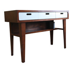 Rocket Mission - Modern Standing Desk - Modern and handsome, our standing desk is a great way to improve your working life with good design and good health.  The clean, modern design features joyfully functional drawers that use silky, full-extension slides.