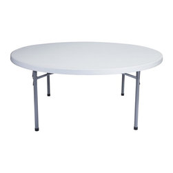 National Public Seating - Blow Molded Round Table - Lightly spotted 2 in. thick gray top. Textured surface to resist scratches. 19-gauge strength legs. Gray textured powder coated straight legs. Gravity slide lock and snap lock for extra stability. Can withstand heat up to 212 degree F. Lightly textured surface to resist scratching yet smooth enough to write on. Used for indoor and outdoor. Plastic contains upto 35% of pre-consumer waste. Steel contains 30-40% of post-consumer waste (recycled). Warranty: Five years for material. Made from blow molded plastic top and steel base. Weight capacity: 700 lbs.. 71 in. Dia. x 29.5 in. HThe perfect solution for your banquet and cafeteria use indoor and outdoor or any other application that calls for affordable, lightweight, weather resistant and  highly durable folding tables.