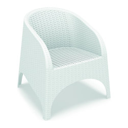 Siesta - Aruba Resin Wickerlook Chair White (Set of 2) - Aruba club / dining chair with curved arms and back. Dining height chair can also be used as accent chairs on a balcony or patio. Wickerlook resin is a natural looking un-woven one piece furniture technology reinforced with fiberglass. Unlike any other woven furniture in the market Wickerlook furniture will never unravel. No metal parts to rust, no moving parts that can break. Made for commercial durability. Chairs are stackable. Perfect for hotels and restaurants. UV treated. Hose down for cleaning. Withstands outdoor temperatures summer and winter.