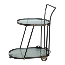 Elinor Bar Cart - Happy hour is even happier when you're mixing drinks from this sleek, yet rugged, bar cart. Two oval glass tiers are fitted into a tough-as-nails steel frame that rolls easily to wherever the party is.
