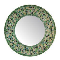 Other Mosaic Mirrors - Custom round glass mosaic mirror in a green and tan color scheme.  Materials used include stained glass, glass gems, and a wide variety of glass mosaic tile.  Custom sizes and color schemes available; pricing varies upon size.