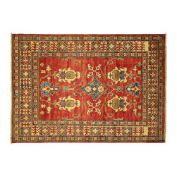 """Manhattan Rugs - New Geometric Persian Kazak 3'10""""x5'5"""" Sangria Red Hand Knotted Wool Rug H4066 - Kazak (Kazakh, Kasak, Gazakh, Qazax). The most used spelling today is Qazax but rug people use Kazak so I generally do as well.The areas known as Kazakstan, Chechenya and Shirvan respectively are situated north of Iran and Afghanistan and to the east of the Caspian sea and are all new Soviet republics. These rugs are woven by settled Armenians as well as nomadic Kurds, Georgians, Azerbaijanis and Lurs. Many of the people of Turkoman origin fled to Pakistan when the Russians invaded Afghanistan and most of the rugs are woven close to Peshawar on the Afghan-Pakistan border.There are many design influences and consequently a large variety of motifs of various medallions, diamonds, latch-hooked zig-zags and other geometric shapes. However, it is the wonderful colours used with rich reds, blues, yellows and greens which make them stand out from other rugs. The ability of the Caucasian weaver to use dramatic colours and patterns is unequalled in the rug weaving world. Very hard-wearing rugs as well as being very collectable"""