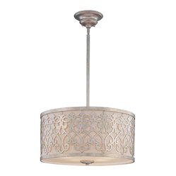 Pendant Pendant - A Classic Moderne pendant from Karyl Pierce Paxton, featuring the designers own brilliant laser cut filigree overlaying a hardback fabric shade and a light Argentum finish. Weight: 21. 78 lbsFinish: ArgentumBulb Wattage: 100Shade: White HardbackNumber of Bulbs: 5Type of Bulb: EBulbs Included: NoSafety Rating: UL, CULVoltage: 120