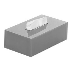Gedy - Thermoplastic Resin Square Tissue Box Cover in Silver Finish - Keep your master bathroom looking modern & contemporary with this designer free-standing tissue box cover from the Gedy Rainbow collection. This free-standing tissue box holder is made in very high quality thermoplastic resin and available in silver. Perfect for modern & contemporary-designed bathrooms. Designed and built in Italy. Designer kleenex box cover, made in very high quality thermoplastic resin. Tissue box cover finished in silver. Designed and built in Italy by Gedy. Part of the Gedy Rainbow collection.