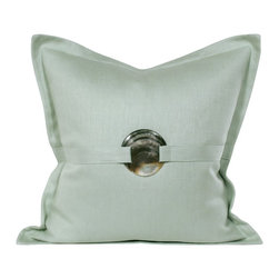 Mother of Pearl Pillow - The shell adds a nice detail to this pretty minty pillow.