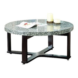 Steve Silver Furniture - Steve Silver Gabriel 2-Piece Marble Top Coffee Table Set with Black Base - Low and large, this round marble veneer top s a multi-step dark wood base.