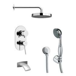 Remer - Polished Chrome Round Tub and Shower Faucet Set with Hand Shower - Multi function tub and shower faucet.