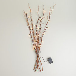 World Market - Willow Branch String Lights - Create a rustic ambiance at your indoor and outdoor gatherings with our Willow Branch String Lights. Shaped like lovely willow tree branches with bulbs on all five branches, these eco-conscious lights have a timer feature so they use less electricity than regular lights.