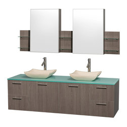 Wyndham Collection - Green Top Vanity with Medicine Cabinet - Includes drain assemblies, mirror, sinks, and P-traps for easy assembly. Faucets not included. Four functional drawers. Two functional doors. Single-hole faucet mount. Fully-extending soft-close drawer slides. Concealed soft-close door hinges. Deep doweled drawers. Unique and striking contemporary design. Highly water-resistant low V.O.C. sealed finish. Eight-stage preparation. Lifetime warping prevention. Green glass top. Ivory marble sink. Metal exterior hardware with brushed chrome finish. Made from veneers and high quality grade E1 MDF. Gray oak finish. Vanity: 72 in. W x 22.25 in. D x 21.25 in. H. Sink: 5.5 in. H. Medicine cabinet: 71.5 in. W x 6 in. D x 30 in. H. Care Instruction. Vanity Assembly Instruction. Medicine Cabinet Assembly InstructionModern clean lines and a truly elegant design aesthetic meet affordability in the (No Suggestions) collection amare vanity. Available with green glass or pure white man-made stone counters, and featuring soft close door hinges and drawer glides, you'll never hear a noisy door again! Meticulously finished with brushed Chrome hardware, the attention to detail on this elegant contemporary vanity is unrivalled.