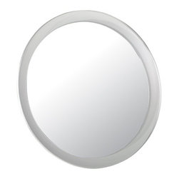 "Lamps Plus - Contemporary Aptations Three Suction Cup 9"" Wide Magnifying Mirror - Elegantly simple this magnifying suction cup mirror will add dimension to any smooth surface. Three suction cups securely attach this 9"" diameter mirror. Detailed grooming and makeup is a breeze with this 5 times magnification mirror. Design by Aptations. Three suction cup design. Attaches to any smooth surface. 5 times magnification. Mirror is 9"" wide.  Three suction cup design.  Attaches to any smooth surface.  5 times magnification.   Mirror is 9"" wide."