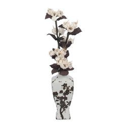 The Firefly Garden - In Bloom - Illuminated Floral Design - In Bloom features illuminated white and brown Sola Wood Roses that mimic the embossed brown roses on an antiqued cream vase. This arrangement is well-matched for both traditional and modern spaces with floral and lighting combined into a unique accent light.
