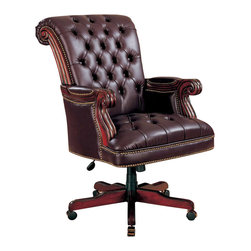 Coaster - Coaster Office Chairs Traditional Executive Chair in Brown - Coaster - Office Chairs - 800142 - This sophisticated executive office chair will add both style and comfort to your home office. The high curved chair back and seat are covered in rich tufted brown leather with exposed wood scroll arms and classic nail head trim accents. An adjustable height gas lift allows you to customize the fit with casters below the wooden base for easy mobility. Create a warm and stylish home office with this beautiful traditional executive chair.