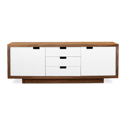 Gus Modern - Wilson Cabinet - This versatile storage unit features a walnut cabinet, complemented by white laquered doors and drawers. It features intergrated handles and self-closing hardware. The doors conceal adjustable shelves.