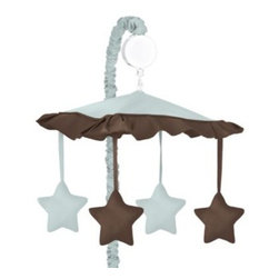 Sweet Jojo Designs - Sweet Jojo Designs Hotel Musical Mobile in Sky Blue/Chocolate Brown - The Musical Mobile in the Hotel Collection from Sweet Jojo Designs brings a pleasant starry visage to baby's crib. Make him or her laugh and smile while Brahms' Lullaby plays, and as it winds up and spins around to everyone's delight.