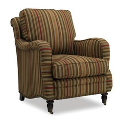 Sam Moore Tyler Club Chair - Mocha - The Sam Moore Tyler Club Chair - Mocha is a classic Old English club chair with loose cushion back for added comfort, a reversible seat cushion with comfort coil, and smooth rolling casters. Handsomely striped fabric upholstery, tailored welt trim, and stylish nailhead trim make this one stylish chair. About Sam MooreSince 1940, Sam Moore's hand-crafted upholstered furniture has offered extraordinary quality, comfort, and style. This Bedford, Virginia-based company proudly crafts its products right here in the USA. From classic to transitional to contemporary styles, Sam Moore takes time with every detail, making sure each piece is something you'll appreciate in your home.
