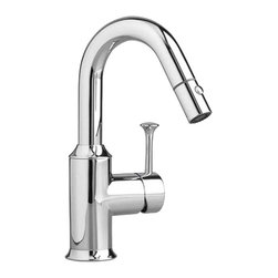 "American Standard - American Standard 4332.410.002 Pekoe Bar Faucet, Chrome - This American Standard 4332.410.002 Pekoe Bar Faucet is part of the Pekoe collection, and comes in a beautiful Chrome finish. This bar faucet features a durable brass construction, 28-3/4"" long braided flexible supply hoses with 3/8"" compression connectors, a pull-out spray with adjustable spray pattern, and a 10-3/4"" spout height."