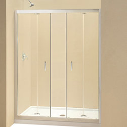 DreamLine - DreamLine Butterfly Frameless Bi-Fold Shower Door - This smart kit from DreamLine offers the perfect solution for a bathroom remodel or tub-to-shower conversion project with a BUTTERFLY bi-fold shower door, universal shower backwall panels and a coordinating SlimLine shower base. The BUTTERFLY shower door is comprised of two sets of bi-fold panels that provide an ample walk-in opening while saving space. The SlimLine shower base incorporates a low profile design for a sleek modern look, while the shower backwall panels have a tile pattern. Choose a beautiful and efficient DreamLine shower kit to completely transform a shower space. Items included: Butterfly Shower Door, 34 in. x 60 in. Single Threshold Shower Base and QWALL-5 Shower Backwall KitOverall kit dimensions: 34 in. D x 60 in. W x 76 3/4 in. HButterfly Shower Door:,  58 - 59 1/2 in. W x 72 in. H ,  1/4 (6 mm) clear tempered glass,  Chrome hardware finish,  Frameless glass design,  Width installation adjustability: 58 - 59 1/2 in.,  Out-of-plumb installation adjustability: Up to 3/4 in. per side,  Space-saving frameless bi-fold door,  Anodized aluminum profiles and guide rails,  Door opening: 47 in.,  Reversible for right or left door opening installation,  Material: Tempered Glass, Aluminum,  Tempered glass ANSI certified34 in. x 60 in. Single Threshold Shower Base:,  High quality scratch and stain resistant acrylic,  Slip-resistant textured floor for safe showering,  Integrated tile flange for easy installation and waterproofing,  Fiberglass reinforcement for durability,  cUPC certified,  Drain not included,  Center, right, left drain configurationsQWALL-5 Shower Backwall Kit:,  Color: White,  Assembly required,  Designed to be installed over existing finished surface (not directly against studs),  Includes 2 glass corner shelves,  Attractive tile pattern,  Unique water tight connection of panels,  Durable acrylic/ABS construction,  Trim-to-Size sidewall design,  Must be trimmed during installa
