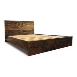 Pereida-Rice Woodworking - Platform Bed Frame and Headboard Set - Dark Walnut, King - A made-to-order bed frame from Pereida-Rice Woodworking