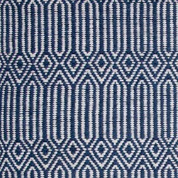 Hook & Loom Rug Company - Hancock Denim/White Rug Swatch - Very eco-friendly rug, hand-woven with yarns spun from 100% recycled fiber.  Color comes from the original textiles, so no dyes are used in the making of this rug.  Made in India.
