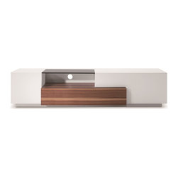 JNM Furniture - Modern Tv Stand TV015 In White Lacquer / Walnut - Spacious side compartments