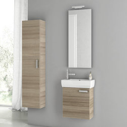 ACF - 18 Inch Larch Canapa Bathroom Vanity Set - Set Includes: Vanity Cabinet (1 Door), high-end fitted ceramic sink, wall mounted vanity mirror, tall storage cabinet. Vanity Set Features: Vanity cabinet made of engineered wood. Cabinet features waterproof panels. Vanity cabinet in larch canapa finish.
